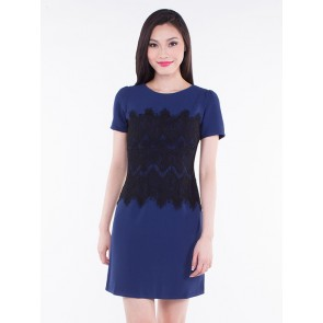 Navy Blue Short Sleeve Laced Short Dress - D36437
