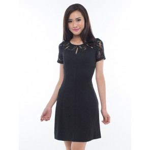 Black Short Sleeve Laced Short Dress - D36464