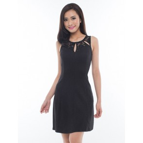 Black Sleeveless Laced Short Dress - D36465