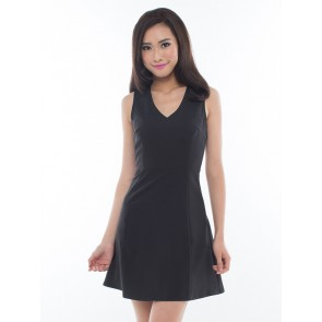 Black Sleeveless Laced Short Dress - D36467