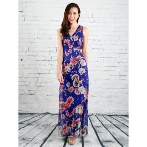 Floral and Animal Print Maxi Dress - D36502