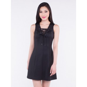 Sleeveless Tie-up V-neck Short Dress - D36524