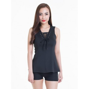 Sleeveless Black Lace Up Top - T36525
