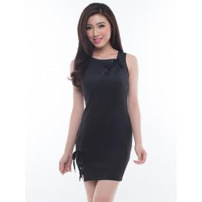 Black Sleeveless Bodycon Dress - D36631