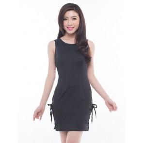 Black Sleeveless Bodycon Dress - D36632