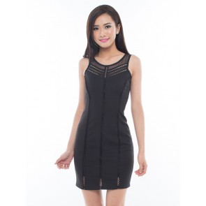 Black Sleeveless Bodycon Dress - D36633