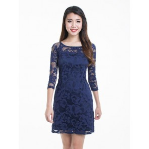 Navy Lace Short Dress - D36752