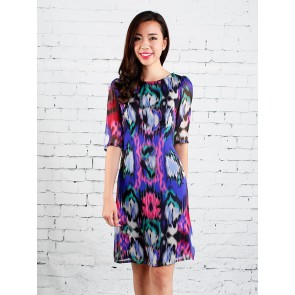 Abstract Print Shift Dress - D36923