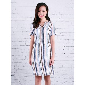 White Striped Dress - D37034