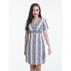White and Black Print Short Dress - D37044