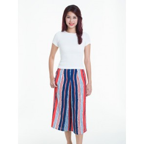 Red and Blue Striped Pants - B37051