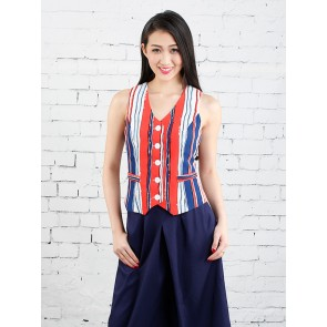 Red and Navy Sleeveless Striped Vest Top - T37052