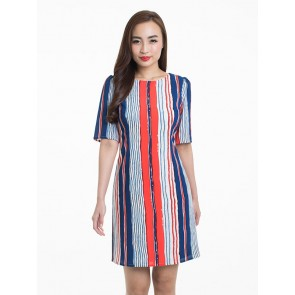 Red and Blue Striped Dress - D37053