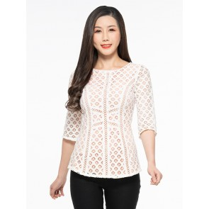 White Geometric Lace Top - T37074