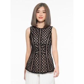 Black Geometric Lace Top - T37075