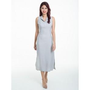 Sleeveless Plain Long Dress - D37093