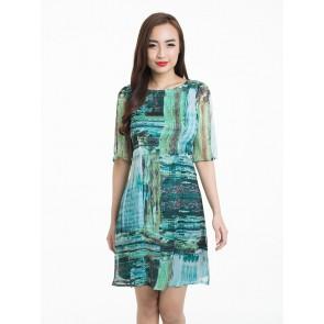 Green Abstract Print Dress - D37127
