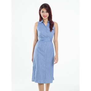 Blue Striped Shirt Midi Dress - D37217