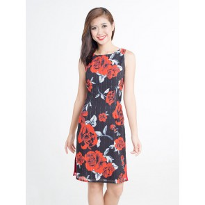 Black Rose Print Sheath Dress - D37317