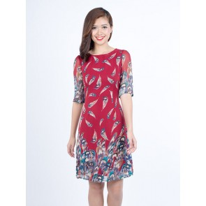 Red Feather Print Dress - D37357