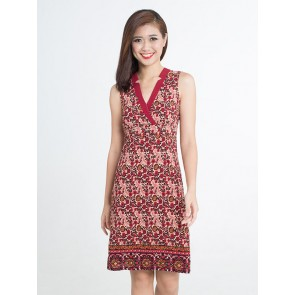 Red Floral Print Dress - D37364