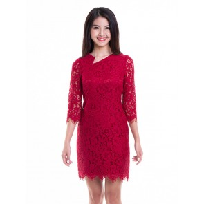 Red Lace Short Dress- D37456