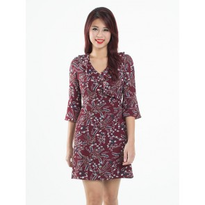 Maroon Ruffled Floral Print Dress - D37523