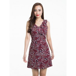 Sleeveless Maroon Ruffled Short Dress - D37525