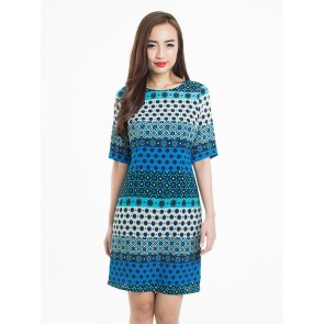 Moroccan Inspired Tile Art Print Dress - D37594