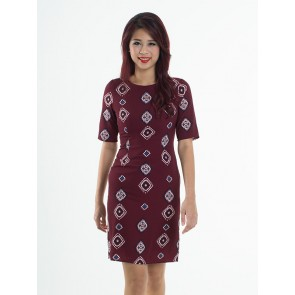 Maroon Tribal Print Dress - D37844