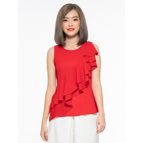 Red Front Ruffle Top- T37878