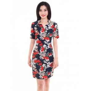 Black  Floral Print Short Dress- D37951