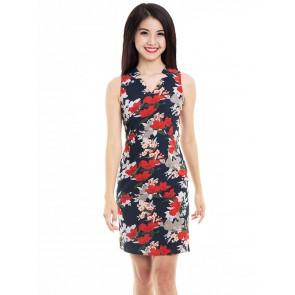 Black Floral Print Short Dress- D37952