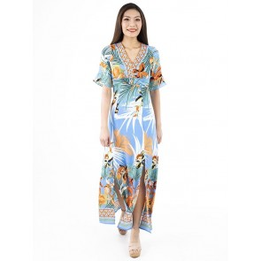 Blue Print Long Dress- D38667