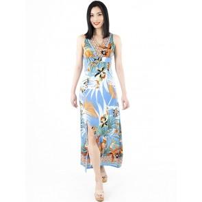 Blue Printed Long Dress - D38668